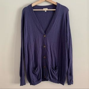 RVCA oversized relaxed blue v neck cardigan small